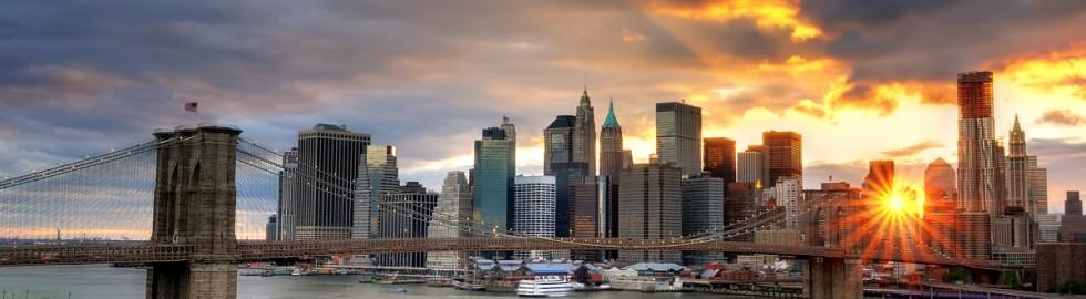 Sunset over the Brooklyn Bridge and Lower Manhattan, New York City