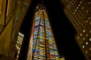 Colorful Freedom Tower at Night